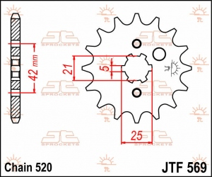 JTF569.12 FRONT REPLACEMENT SPROCKET 12 TEETH 520 PITCH NATURAL STEEL