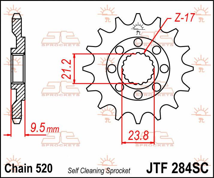 JT Sprockets 520 Front Sprocket Self Cleaning Steel 14 Teeth Natural JTF284.14SC